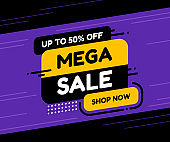 Label template mega sale with button shop now. Vector flat illustrations. Big sale special offer.