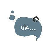 Word ok in cartoon speech bubble. Hand drawn slang lettering for dialogs, messages, chats etc. Handwritten text in comic style and doodle frame