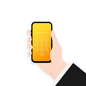Screen Lock. Hand holding smartphone screen lock passcode interface. Interface for lock screen or enter password pages.