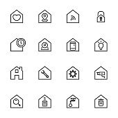 home setting control interface simple thin line icons