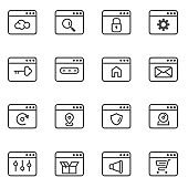 web interface simple thin line icons set