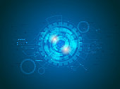 abstract technology circuits in blue background