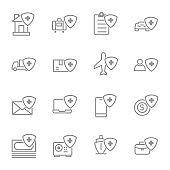 insurance simple line icons set