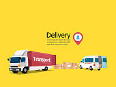 delivery service concept, parcel box with truck and van transport