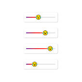 Set of slider emoji for social networks. Laughing face, emoticon. Stories screen user interface button social media design. Vector on isolated white background. EPS 10