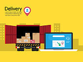 delivery service concept, online delivery application