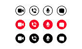 Video call screen template. Video cal icons set. Buttons for social media app. Communication via internet concept. Sound, microphone, call, chat, camera. Vector illustration