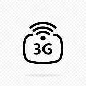 3g icon. 3G network wireless systems and internet. Communication network. 3rd generation network logotype or telecommunication standard concept. Vector on transparent background.