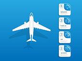 airplane flights information vertical timeline infographics