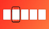 Social media carousel with smartphone. Smartphone with interface carousel post on social network. Phone mockup template. Carousel ads banner. Social media story. Mockup template media internet.