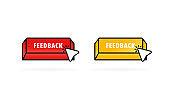 Feedback button with cursor, pointer. Feedback icon. Vector illustration. EPS10