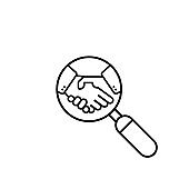 Handshake in magnifying glass line icon. Partnership deal. Business concept. Contract agreement. For apps and webstes. Vector EPS 10. Isolated on white background