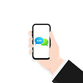 Hand holds a mobile phone on the screen icon. Notification on the smartphone screen of a new message. Sending and receiving messages concept. For websites and banners design. Vector EPS 10