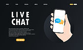Hand holds a mobile phone on the screen icon. Live chat. Notification on the smartphone screen of a new message. Sending and receiving messages concept. For websites and banners design. Vector EPS 10