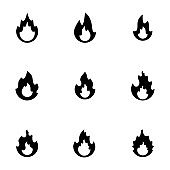 fire flames simple flat design icon vector illustration