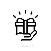 Free gift line icon. Vector business template. Present gift box icon. Hand holding gift. Vector illustration