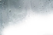 Raindrops on window glasses surface with cloudy background