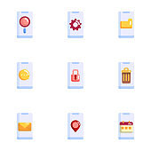 set of mobile smartphone application icon