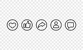 Social media line icon set in black. Like, share, followers, chat sign. Vector EPS 10. Isolated on transparent background