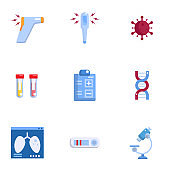covid-19 coronavirus detect method icons set vector illustration flat design