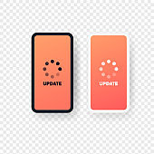 Smart phone with update sign. The process of loading into the smartphone screen. Vector EPS 10. Isolated on transparent background