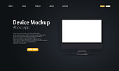 Blank device mock up. Realistic computer monitor with blank screen and shadow. Dark theme. Web page tamplate. Electronic devices mockup set. Modern technology. Vector EPS 10.