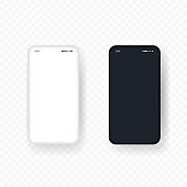 Realistic smartphone mockup. White and black phone. Vector EPS 10. Isolated on transparent background