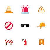 safety, warning icons set flat design vector illustration