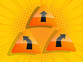 arrow traffic sign label with halftone burst background