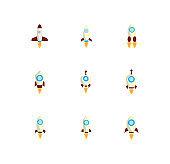 rocket launch icons set flat design