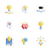 creative thinking icons set
