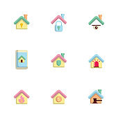 home security icons set flat design vector illustration