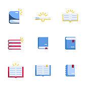 book icons set flat design