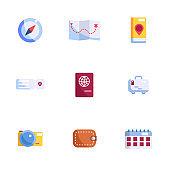 travel icons set vector illustration flat design