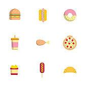 fast food flat icons set vector illustration
