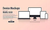 Blank device mock up. Realistic smartphone, tablet, laptop, monitor with blank screen and shadow. Electronic devices mockup set. Vector EPS 10. Flat, illustration.
