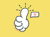 hand like and love vector illustration