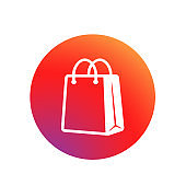 Shopping bag icon. Button in social media concept or applications, web, app. Eco paper bag. Handbag icon. Vector on isolated white background. EPS 10.