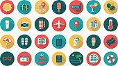 Summer travel set icons flat design