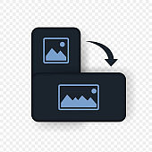 Smartphone rotation icon. Dark theme. Horizontal phone. Vector EPS 10. Isolated on transparent background