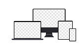 Set of realistic computer monitors, laptops, tablets and mobile phones. Vector EPS 10. Isolated on white background