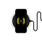 Wireless charger illustration. Smartphone on wireless charging. Battery charge icon. Flat wireless power charge.