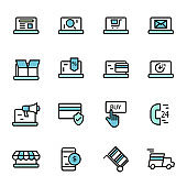 online shopping and services icon set