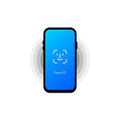 Face id. Screen lock authentication password smartphone background template. Smartphone security. Illustration of phone ID recognition screen lock password or lock screen passcode numbers display