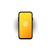 Phone lock screen. Touch id. Screen lock authentication password smartphone background template. Smartphone security. Vector.