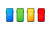 Phone lock screen. Vector illustration. Set of four mobile phone screen loch passcode interface. Smartphone security with different password models.