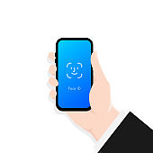 Screen Lock. Face id. Hand holding smartphone screen lock passcode interface. Interface for lock screen or enter password pages.