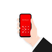 Phone lock screen. Hand holding smartphone screen lock passcode interface. Screen lock authentication password smartphone background template. Smartphone security. Vector.
