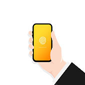 Phone lock screen. Touch id. Hand holding smartphone screen lock passcode interface. Illustration of phone ID recognition screen lock password or lock screen passcode numbers display. Vector