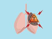 attention on human lung ncov virus detector vector illustration flat design